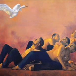 Love Desire IV by Kunal Jain, Surrealism Painting, Oil & Acrylic on Canvas, Brown color