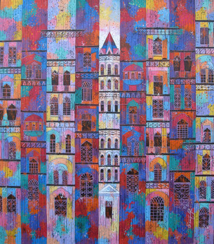 Color City 771 by Suresh Gulage, Art Deco Painting, Acrylic on Canvas, Brown color