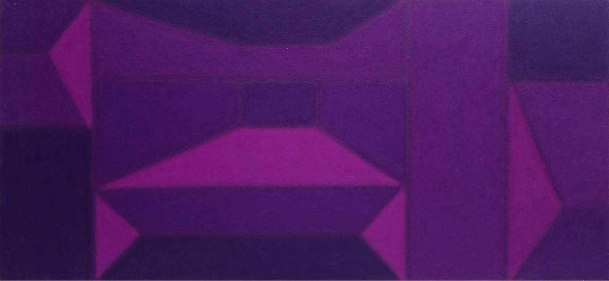 Untitled by Sandip More, Geometrical Painting, Acrylic on Canvas, Purple color