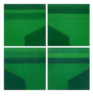Untitled by Sandip More, Abstract Painting, Acrylic on Canvas, Green color