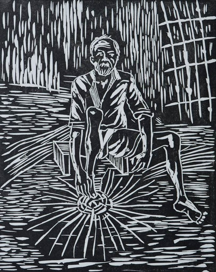 Untitled by Chayan Das Thakur, Illustration Printmaking, Linocut Print on Paper, Gray color