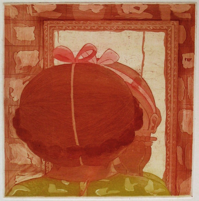 Good Morning India by Rima Kundu, Illustration Printmaking, Etching and Aquatint, Brown color