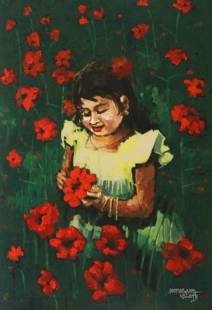 Flowers And She by Mopasang Valath, Impressionism Painting, Acrylic on Canvas, Green color