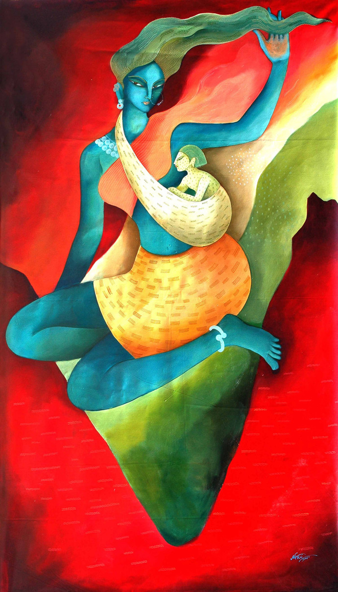 Mother India By Artist Nitai Das Expressionism Painting
