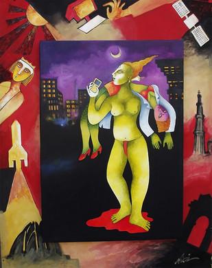 Night City Digital Print by Nitai Das,Expressionism