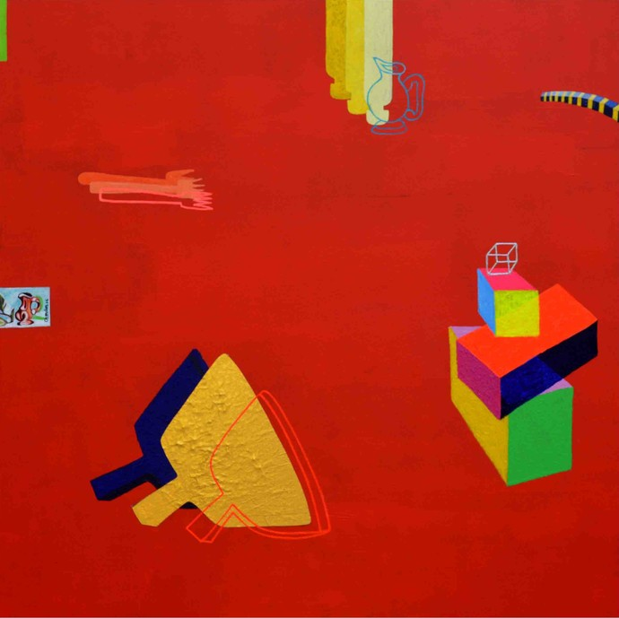 Elements 154 by Chandan Agrawal, Naive Painting, Acrylic on Canvas, Red color