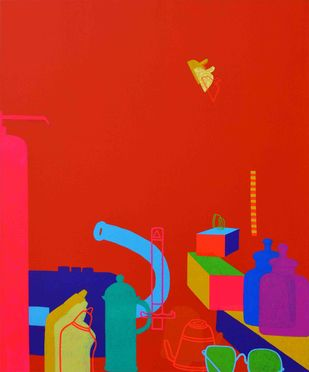 Elements 163 by Chandan Agrawal, Naive Painting, Acrylic on Canvas, Red color
