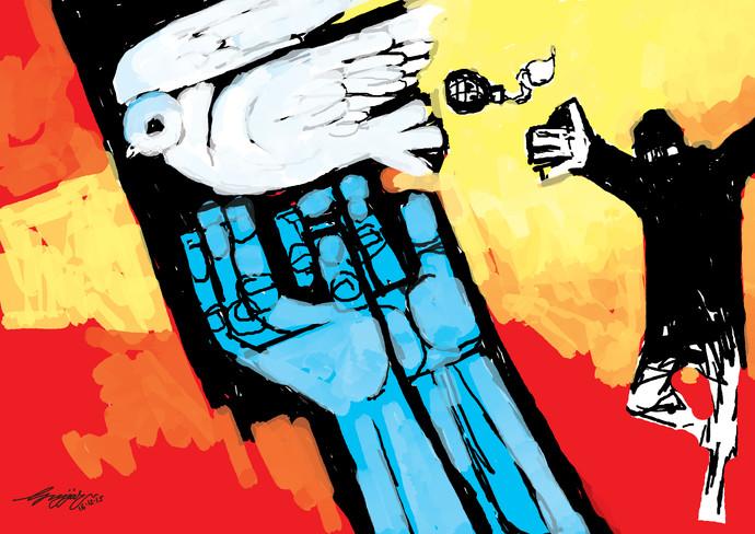 Terror by Gujjarappa B G, Digital Digital Art, Digital Print on Canvas, Red color