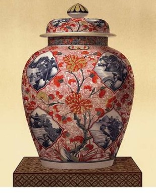 Oriental Blue Vase III Digital Print by Unknown,Decorative