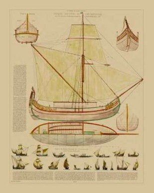Antique Ship Plan I Digital Print by Vision Studio,Art Deco