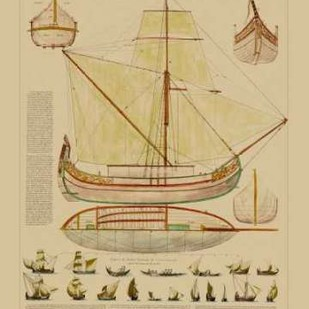 Antique Ship Plan I Digital Print by Vision Studio,Art Deco