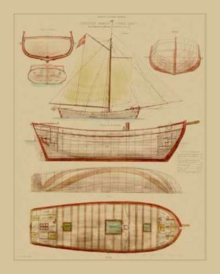 Antique Ship Plan III Digital Print by Vision Studio,Decorative