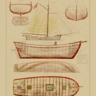 Antique Ship Plan III Digital Print by Vision Studio,Decorative