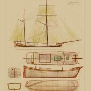 Antique Ship Plan IV Digital Print by Vision Studio,Decorative