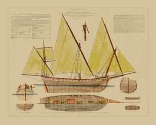 Antique Ship Plan V Digital Print by Vision Studio,Decorative