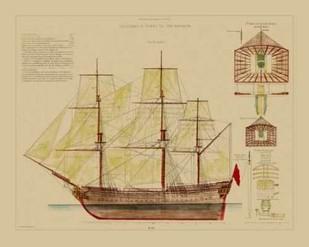 Antique Ship Plan VIII Digital Print by Vision Studio,Decorative