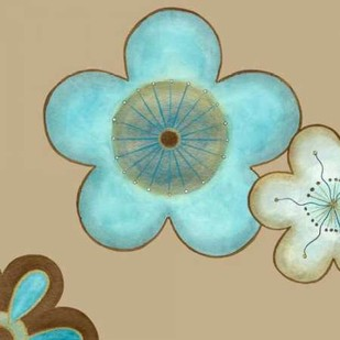 Pop Blossoms in Blue II Digital Print by Vess, June Erica,Decorative