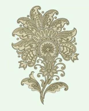 Celadon Floral Motif III Digital Print by Vision Studio,Decorative