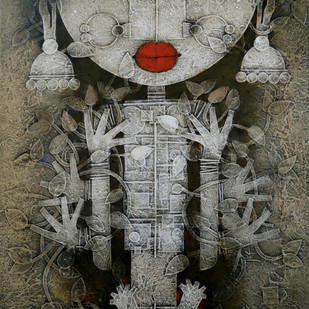 Devima by Basukinath Dasgupta, Decorative Painting, Acrylic on Canvas, Gray color