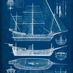 Antique Ship Blueprint I Digital Print by Vision Studio,Decorative