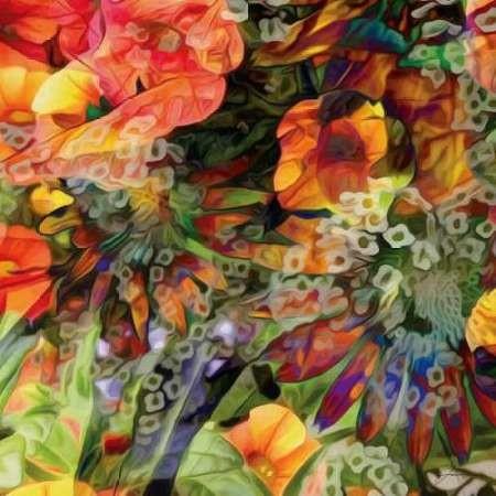 Embellished Eden Tile III Digital Print by Burghardt, James,Impressionism