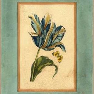 Crackled Spa Blue Tulip II Digital Print by Vision Studio,Decorative