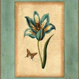 Crackled Spa Blue Tulip III Digital Print by Vision Studio,Decorative