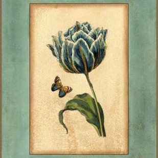 Crackled Spa Blue Tulip IV Digital Print by Vision Studio,Decorative