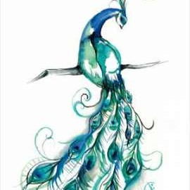 Aquarelle Peacock I Digital Print by Goldberger, Jennifer,Decorative