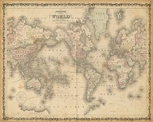 Johnsons Map of the World Digital Print by Johnson,Decorative