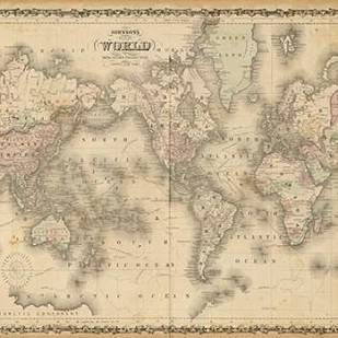 Johnsons Map of the World Digital Print by Johnson,Decorative