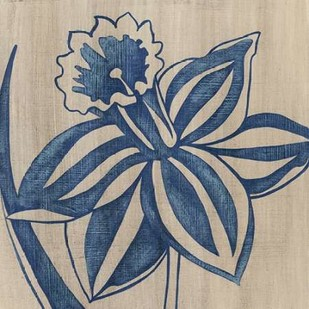 Indigo Daffodil Digital Print by Zarris, Chariklia,Illustration