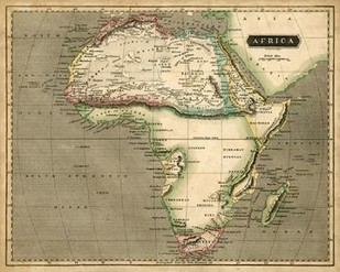 Thomsons Map of Africa Digital Print by Thomson,Decorative