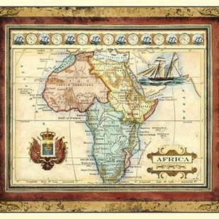 Map of Africa Digital Print by Vision Studio,Decorative