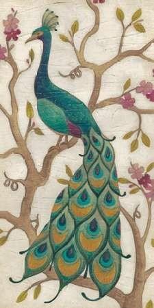 Peacock Fresco Ii By Artist Vess June Erica Decorative Painting