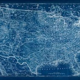 US Map Blueprint Digital Print by Vision Studio,Decorative