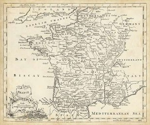 Map of France Digital Print by Jeffreys, T.,Decorative
