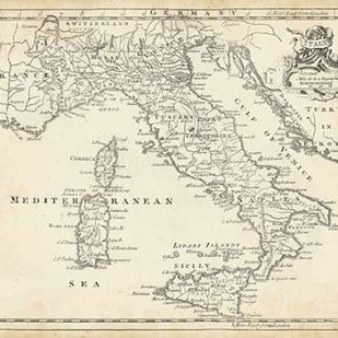 Map of Italy Digital Print by Jeffreys, T.,Decorative