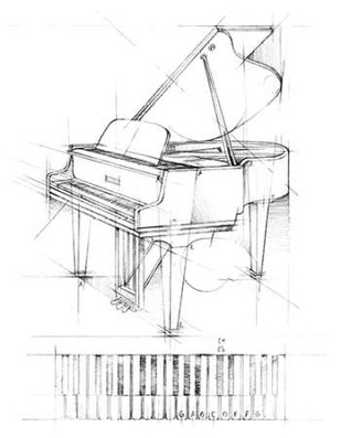 Piano Sketch Digital Print by Harper, Ethan,Illustration