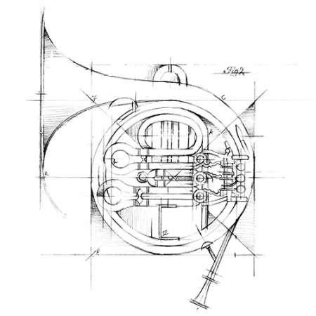 French Horn Sketch Digital Print by Harper, Ethan,Illustration