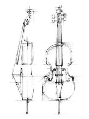 Cello Sketch Digital Print by Harper, Ethan,Illustration