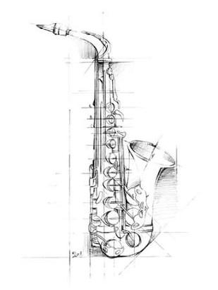Saxophone Sketch Digital Print by Harper, Ethan,Illustration