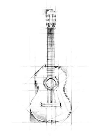 Guitar Sketch By Artist Harper Ethan Illustration Print