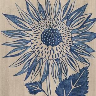 Indigo Sunflower Digital Print by Zarris, Chariklia,Decorative