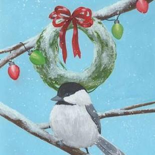 Chickadee Christmas III 2-Up Digital Print by Popp, Grace,Impressionism