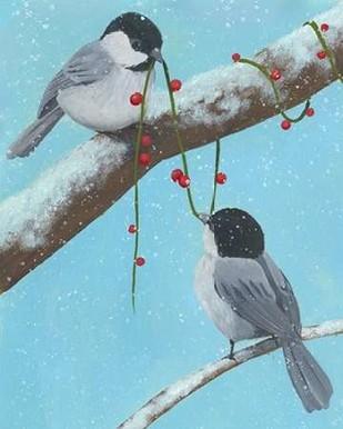 Chickadee Christmas IV 2-Up Digital Print by Popp, Grace,Impressionism