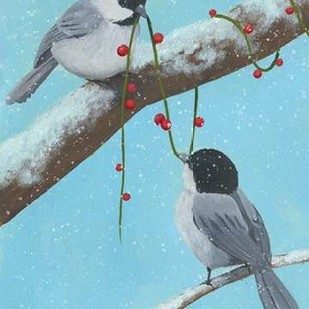 Chickadee Christmas IV 2-Up Digital Print by Popp, Grace,Impressionism