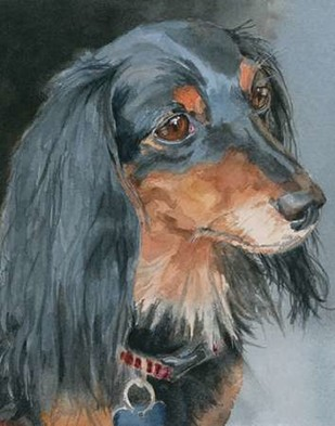Natalie Long-haired Dachshund Digital Print by Fagan, Edie,Impressionism