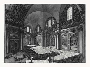 Veduta interna della Chiesa della Madonna Digital Print by Piranesi,Illustration