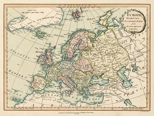 Historic Map of Europe Digital Print by Laurie & White,Decorative